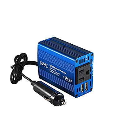 Foval Power Inverter DC 12V to 110V AC Converter with 3.1A Dual USB Car Charger