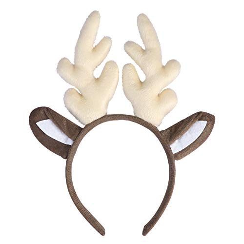 Kids Thanksgiving Costumes (Tinksky Reindeer Antler Hair Hoop Christmas Kids Headband Headwear for Children Christmas Costume Party birthday or Xmas Thanksgiving Day gift (Milk)