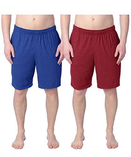 - Fruit of the Loom 2 Pack Tagless Mens Shorts with Pockets 9 inch Inseam Athletic Cotton Running Shorts, Royal Blue & Cardinal, XL