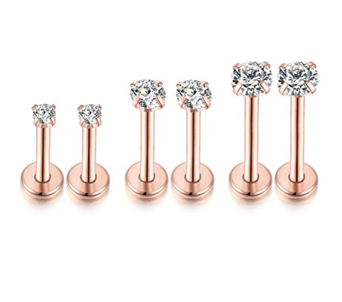 3Pairs 16G CZ Labret Cartilage Tragus Monroe Lip Nose for sale  Delivered anywhere in USA