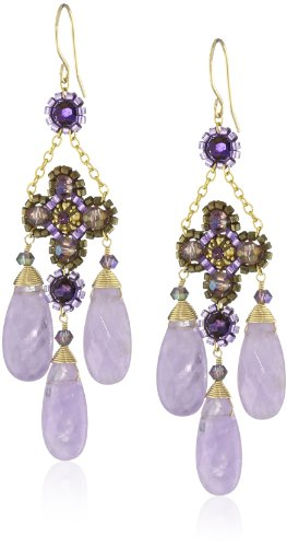 (Miguel Ases Cape Amethyst 3-Drop Flower Earrings)