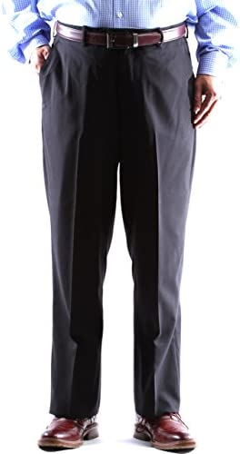 Men`s Super 120s 100% Virgin Wool Black Flat Front Dress Pants