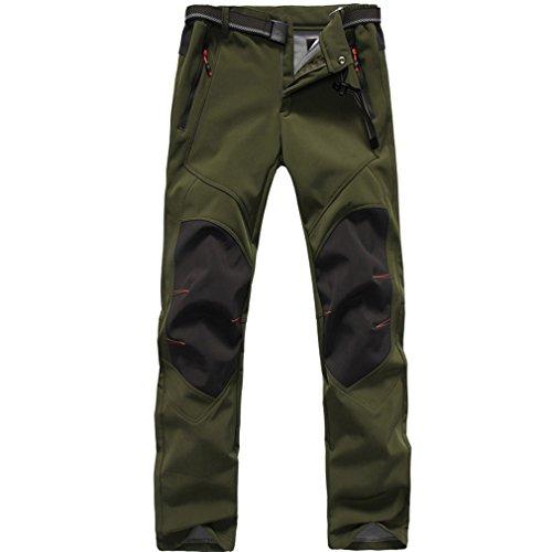 FLYGAGA Homme Softshell Doublé polaire Coupe-vent Imperméable Outdoor Sport Pantalon Escalade Camping Randonnée Trekking