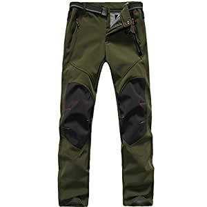 AUtopway Men's Outdoor Softshell Fleece Lined Sports Pants Water-Resistant Windproof Camping Hiking Trekking Trousers (S, Army Green)