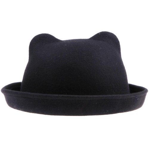 [Gem 57cm Head Circumference Unique Vintage Punk Fashion Lovely Cute Derby Wool Winter & Autumn Kitty Cat Ears Hat Cloche Costume Party Christmas Cap Bowler (#1] (Cute Unique Costumes)