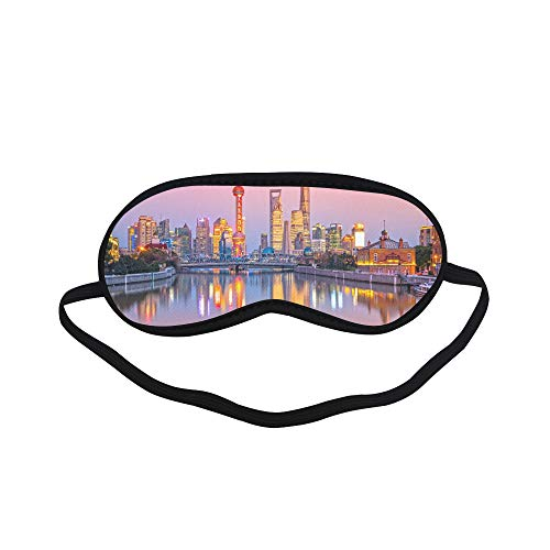 (All Polyester Oriental Pearl Sign Building Travel Sleeping Eye Masks&Blindfold by Simple Health with Elastic Strap&Headband for Adult Girls Kids and for Home Travel)