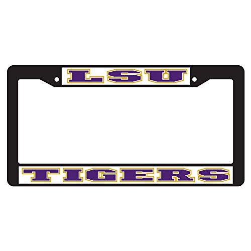 LSU TIGERS Black Laser Engraved Mirrored License Plate Car Tag