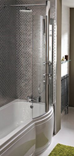 Bristan Prism PM IPSHCR S P Shaped Integrated Bath Shower Screen