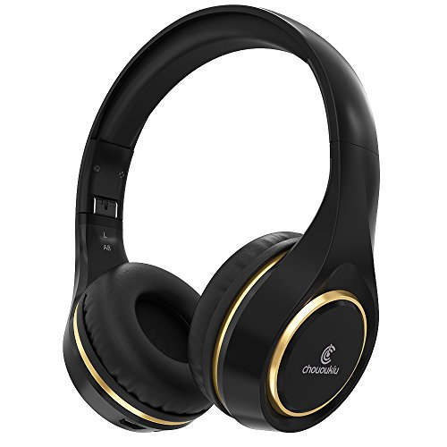 Bluetooth Headphones On Ear, Chououkiu Wireless Headset Foldable Hi-Fi Stereo Headphone with Mic In-line Volume, Wired and Wireless Headphones for Cell Phone/ TV/ PC (Black/Gold)