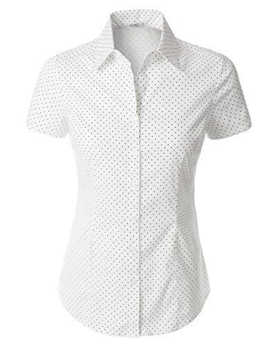 Shirt Dot Collar - LE3NO Womens Polka Dots Short Sleeve Button Down Tailored Shirt,L3nwt2270_white,X-Large