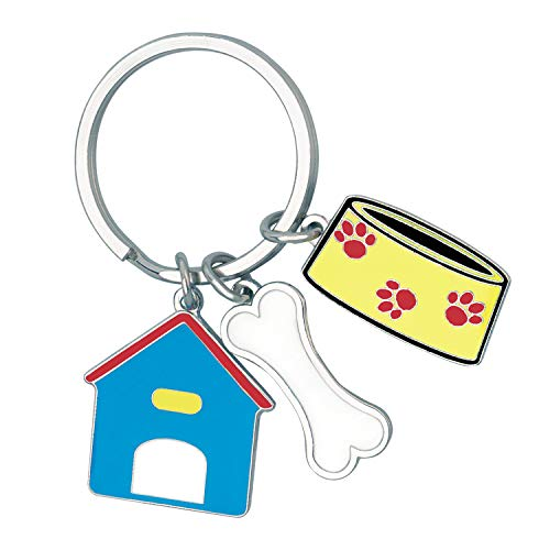 - Cute Gift, A Dog's Life Keychain With 3 Charms: Dog House, Bone And Bowl
