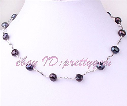 patcharin shop Freeform Natural Black Pearl Bend White Gold Plated Finished Necklace (Freeform Heart Necklace)