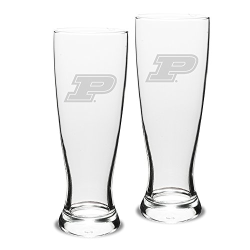 NCAA Purdue Boilermakers Adult Set of 2 - 23 oz University Pilsners Deep Etch Engraved, One Size, Clear