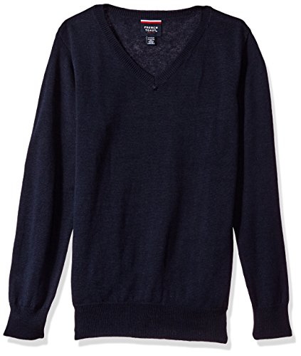 Boys Uniform Sweater (French Toast Big Boys' Fine Gauge V-Neck Sweater, Navy, XL)