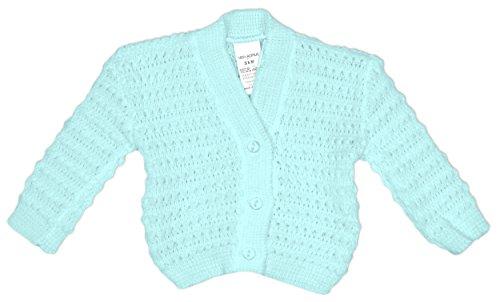 bebé De punto Botón De Cardigan Chaqueta Acrílico Blanco Rosa Azul rallas desde Recién nacido a 9 Meses Azul
