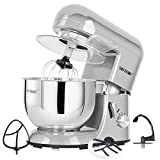 CHEFTRONIC Stand Mixer Tilt-head Mixers Kitchen Electric Mixer for Household Aids 120V/650W 5.5qt Stainless Steel Handle Bowl (SM986-silver)