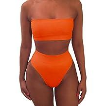 Pink Queen Women's Removing Strap Padded High Waist Bikini Set Swimsuit