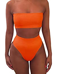 Women's Removable Strap Wrap Pad Thong High Waist Bikini Set Swimsuit