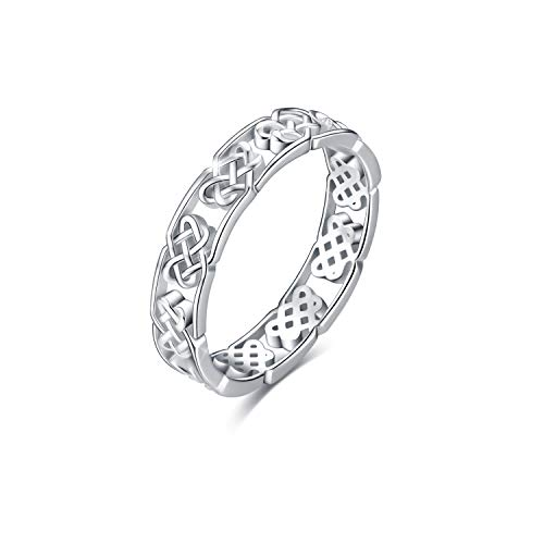 - YFN 925 Sterling Silver Ring Celtic Knot Ring Good Luck Heart High Polish Band Stackable Ring for Women, Size 8