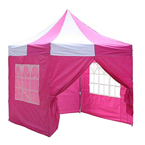 Delta 8'x8' Pink White - EZ Pop up Canopy Party Tent Instant Gazebo 100% Waterproof Top with 4 Removable Sides ()