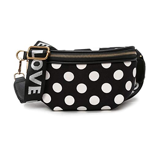 a654b5a936e1 niumanery Fashion Dots Waist Crossbody Belt Fanny Pack Phone Pouch Women PU  Leather Belt Zipper Chest Bag Purse Black