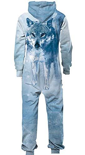 Adult Unisex Hoodie Pajamas Polyester Sportswear Jumpsuit Wolf Pajamas Onesies Cosplay Party Halloween Christmas Wear (Wolf Head, M) -