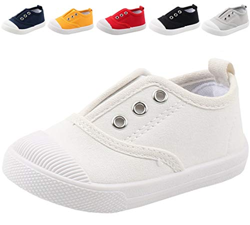 DADAWEN Boy's Girl's Candy Color Canvas Slip-On Lightweight Sneakers Cute Casual Running Shoes White US Size 7 M Toddler
