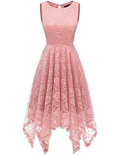 DRESSTELLS Women's Cocktail Floral Lace Handkerchief Hem Bridesmaid Wedding Gown Blush 2XL