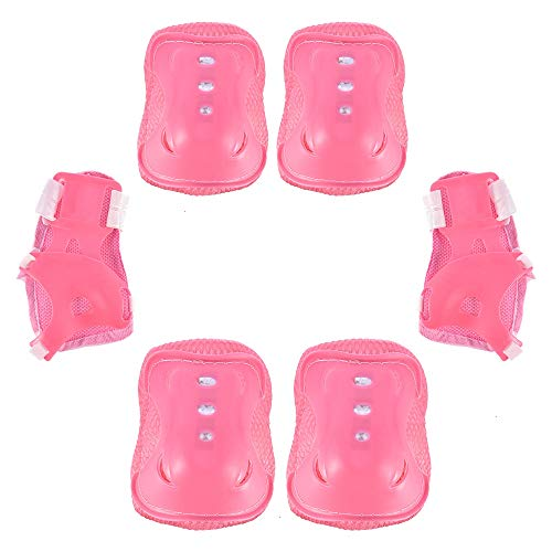 Feeko-Kids-Protective-Gear-Set-6PCS-Kids-Skating-Roller-Blading-Wrist-Elbow-Knee-Pads-Blades-Guard-for-Ice-Skateboard-Bike-Scooter-Outdoor-Sports-Children-Knee-Pad-Pink