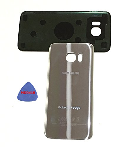 (md0410) Galaxy S7 EDGE OEM SILVER TITATNIUM Rear Back Glass Lens Battery Door Housing Cover + Adhesive Replacement For G935 G935F G935A G935V G935P G935T with adhesive and opening - Repair Glasses Cracked Lens