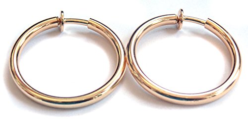 Tone Round Earrings - Clip-on Earrings Round Shiny Hoop Gold Or Silver Tone 1 inch Hoops Hypo-Allergenic (gold)