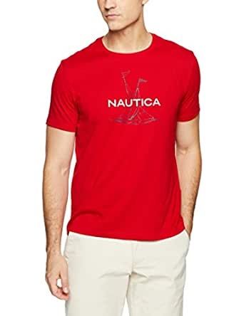 Nautica Men's Short Sleeve Anchor Flag Graphic T-Shirt, Flare Red, T0M