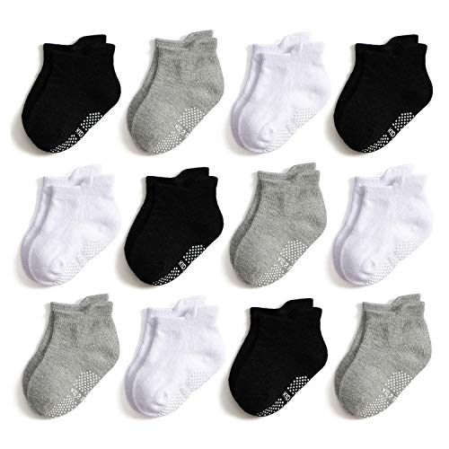 - Epeius Unisex-Baby Non-Skid Socks Toddlers Boys Girls Grip Solid Color Ankle Socks Non Slip/Anti Skid Tab Socks 12 Pairs Value Pack,Black/White/Light Grey,2-3 Years
