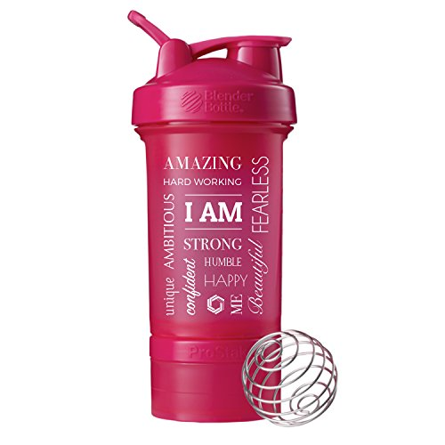 I AM Word Mesh Blender Bottle ProStak,22oz Protein Shaker cup with Twist N' Lock Storage Containers (Pink)