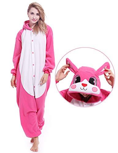 Adult Rabbit Animal Onesies Bunny Cosplay Costume Pajamas Halloween Costumes for Men Women -
