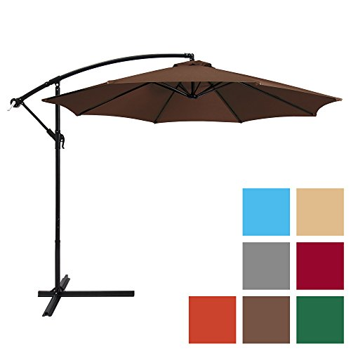 Best Choice Products 10ft Offset Hanging Market Patio Umbrella w/ Easy Tilt Adjustment, Polyester Shade, 8 Ribs for Backyard, Poolside, Lawn and Garden - Brown (Products Patio)