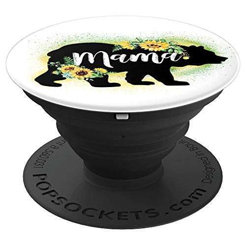 Mama bear Floral Flower sunflower watercolor - PopSockets Grip and Stand for Phones and Tablets