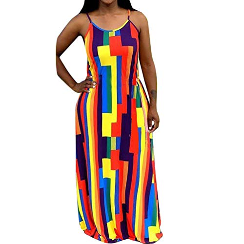 Womens Spaghetti Strap Dress Summer - Casual Loose Floral Beach Cover Up Plus Size Long Maxi Dresses with Pocket Colorful Block - Long Dress Floral