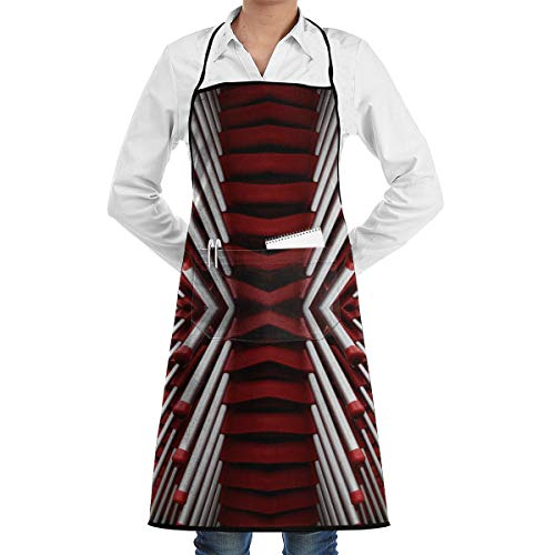 ADSEZ Red and White Matchsticks Wallpaper Apron with Pocket,Convenient and Adjustable, Design for Garden Craft