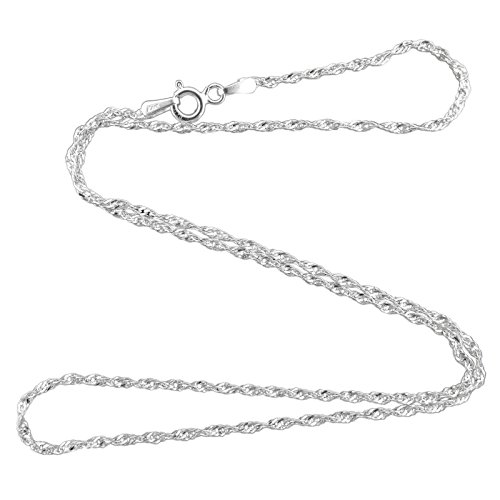 - 1 Pc Silver 1.5mm Singapore Rope Chain Serpentine Necklace 925 Italy 30
