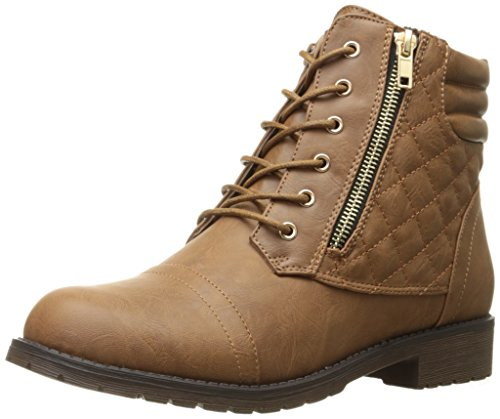 DailyShoes Women's Military Lace Up Buckle Combat Boots Ankle High Exclusive Quilted Credit Card Pocket Bootie Tan Pu