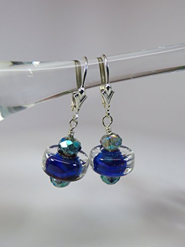 Blue Artisan Lampwork Silver Glass Earrings with Fire Polish Crystal Accents and Sterling Silver Leverback Ear Wires ()