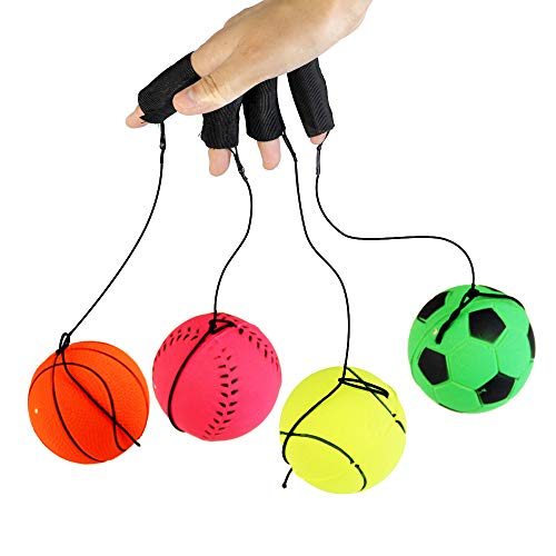 JTDEAL Return Ball 4pcs Wrist Band Bounce Ball with Rubber Foam 60MM Yoyo Wrist Return Ball for Adult Use in Finger Stiffness Relief Wrist Exercise and Gift Sport Toy Balls -