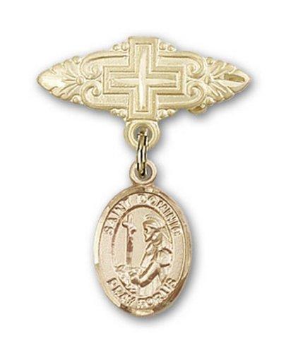 Icecarats Or Bijoux De Créateurs Rempli R. Dominique De Guzman Broche De Badge Charme Avec Une Croix X 3/4