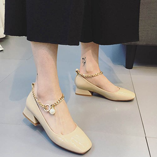 Beads Btrada Block Shoes Mary Jane Square Women's Buckle Heel Loafers Shoes Sexy Shiny apricot Metal Penny Toe pAfAxYwRq