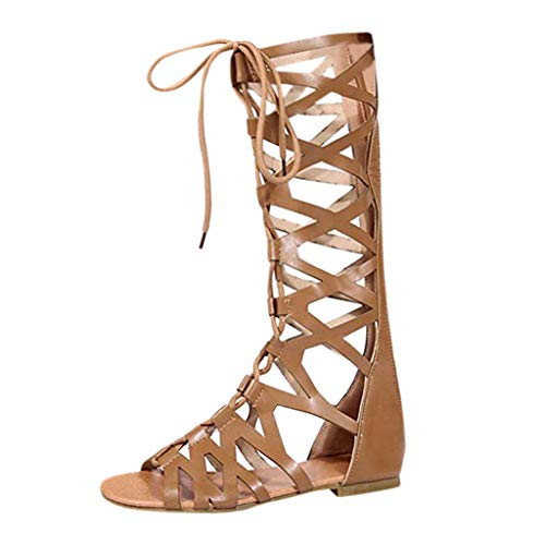 WEUIE Knee High Gladiator Sandals Fashion Strappy Caged Flat Sandals for Women (Best Running Routes In Dc)