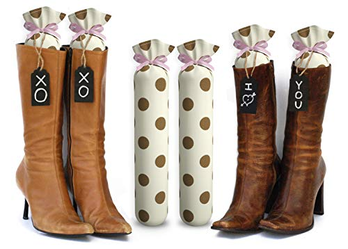 My Boot Trees, Boot Shaper Stands for Closet Organization. Many Patterns to Choose from. 1 Pair. (Cream with Brown Polka Dots) ()