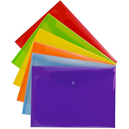 JAM PAPER Plastic Envelopes with Snap Closure - Letter Booklet - 9 3/4 x 13 - Assorted Colors - 6/Pack by JAM Paper