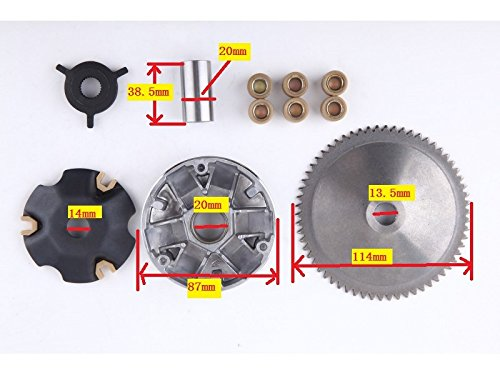 (139QMB GY6 50CC Complete Variator Kit with 8.5g roller weights)