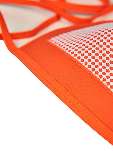 Blooming Jelly neopreno Crochet halter traje de baño hueco correa tanga brasileño minúsculo bikini Naranja